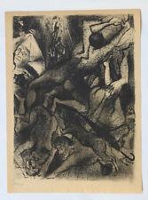 1955 René-Jean CLOT Lithographie originale en noir 1/200 La Chute Enfer