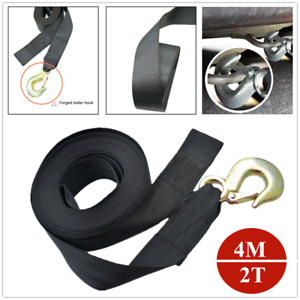 "2"" 2T Car Heavy Duty Tow Winch Belt Strap Hook Wheel Webbing For RV Boat Trailer"
