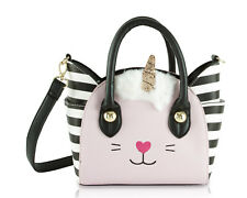 Luv Betsey Johnson Lbkatt Satchel Crossbody Bag Kitsch Cat Face Leopard White