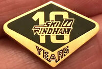 Vintage 24K Gold Plated Ski Windham 10 Years Lapel Pin