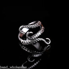 Fashion Men Vintage Punk Rock Gothic Octopus Stainless Steel Silver Ring Jewelry
