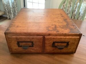 Vintage Wooden 2 Drawer Library Card Catalog Box Index File CabinetDove Tailed
