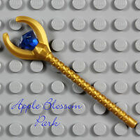 NEW Lego Pharaoh Quest GOLD STAFF - Mummy Minifig Weapon w/Dark Blue Jewel Gem