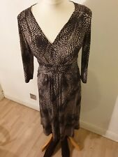 Marks and spencer Portofino Midi Brown & Cream Longsleeve Print Dress Size 10