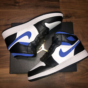 Nike Air Jordan 1 Mid GS `Game Royal' Racer Blue - Black-White UK4 US4.5 EU36.5