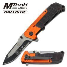 Spring-Assist Folding Pocket Knife Mtech Emt Paramedic Orange Black Serrated Edc