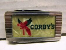 VINTAGE CORBY'S ADVERTISING MONEY CLIP FOLDING POCKET IMPERIAL KNIFE