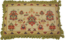 """Needlepoint Pillow   Turkish Gold Red Bolster 16""""x28"""" Sofa Couch Chair Bed"""