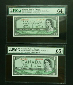 Canada $1 1954 Devils Face, consecutive serial numbers, PMG 64, 65. EPQ GEM UNC