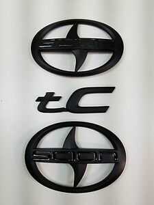 2011-2016 3 PCS  Scion Black Matt Emblem Badge Sticker decal tC trunk Grill  New