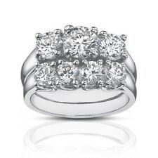 2.25 Ct Three Stone Round Diamond Engagement Ring With Wedding Band In Platinum