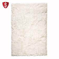Sheepskin Rug Faux Area Fur Rectangle Carpet Soft White Polyester Home Hooked