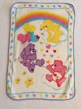 "Carebear Baby Blanket Care Bears White Plush 30""x44"" Rainbow Share Funshine Love"