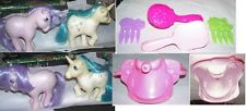 2 MLP G1 My Little Pony blossom & majesty + modern 2 combs 2 brushes & saddle