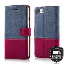 SURAZO® Premium Echtes Ledertasche Schutzhülle Wallet Case TPU - Jeans/Nubuk