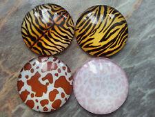4x CABOCHON T3 Glas, 25 x 7 mm, Tierfell, Tiger, Leopard, Kuhfleck braun weiß