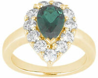 0.75 carat pear shape Emerald w/ round Diamonds Solitaire  14k Yellow Gold Ring