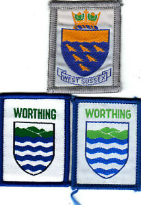 Boy Scout Badges WEST SUSSEX County + WORTHING DISTRICT light+dark green