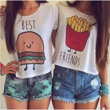 Women Summer French Fries Hamburger Best Friends T-Shirts Tops Blouse S-XL