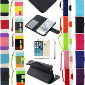Hybrid PU Leather Flip Pouch Stand Wallet Case Smart Cover For iPhone 5 5S SE