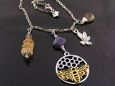 Honey Bee Necklace with Citrine and Iolite, Solid Stainless Steel Necklace