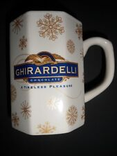 White Mug Gold Snowflakes Christmas Winter Octagon 8 Oz Ghirardelli