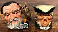 Set of 2 VTG Royal Doulton Toby Jug Creamers – Merlin & Parson! Nice! 125
