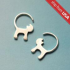 925 Sterling Silver Cat Kitty Kitten Designer Earrings Dangle Novelty gift Cute