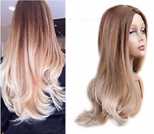 Custom natural synthetic Light Brown Amber to Platinum Bleach Blonde ombre wavy