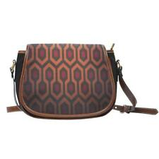 The Shining Hallway Carpet Canvas Handbag | Saddle Bag Leather Trim Crossbody