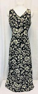 Black And White Sleeveless Maxi Dress Medium Rayon Gloria Vanderbilt