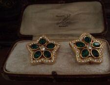 Vintage Oval Emerald Green & Clear Crystal Flower Star Clip-on Earrings