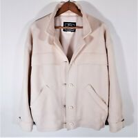 Vintage Woolrich Woman Wool Cropped Barn Jacket 80s Cape Coat USA Ivory Cream M
