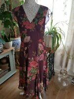 LAURA ASHLEY 100% Silk Chiffon Floral Rose Floaty Midi Dress 12 Occasion Wedding