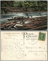 KENTUCKY RIVER LOGGING 1912 ANTIQUE POSTCARD w/ CORK CANCEL