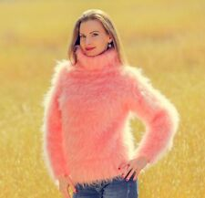 ♕ SUPERTANYA ♕ top in peach pink hand knit fuzzy mohair sweater SUPERTANYA SALE