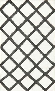 Trellis Kilim Wool/ Silk Oriental Hand-Woven Area Rug White/ Charcoal Carpet 3x5