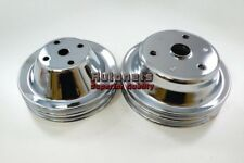 Sbc Chrome Small Block Chevy Long Water Pumpcrank Pulley Double 2 Groove Lwp350