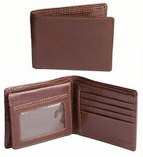 JACK GEORGES RFID Buffalo Leather Voyager Bi-Fold With Flap Wallet in Cognac NWT