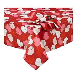 Valentine's Day Oval Tablecloth 60 x 84 Tossed Hearts Pinks White Red Gold Black