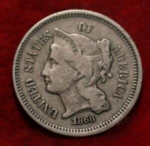 1868 Philadelphia Mint Nickel Three Cent Coin