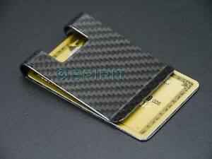 Large REAL 100% Carbon Fibre Business Card Holder Money Clip Wallet GLOSS Finish
