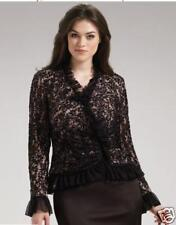 new RRP $420 TADASHI SALON Z RUFFLED EVENING BEADED LACE TOP 16 /18 last