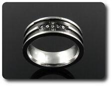 anello da uomo acciaio + 7x2 mm DIAMANTE CZ taglia 50, 51 & 54