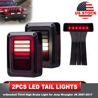 2PCS LED Tail Lights w/Smoked Third High Brake Light for Jeep Wrangler JK 07-17