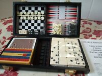 Vintage Cased Travel Games Set Chess Crib Dominoes Backgammon Checkers New