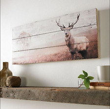 Rustic Wooden Stag Print Wall Art Canvas - Contemporary Home Decor Picture Panel