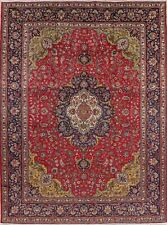 Vintage Traditional Red Floral Living Room Area Rug Hand-Knotted Wool 10'x13'