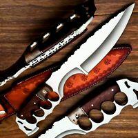Amazing Custom Handmade D2 Steel Hunting Knife & Sheath | Rose Wood Grip Handle
