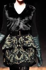 Alexander Mcqueen negro de piel de lana cachemir cárdigan chaqueta uk8-10 rrp995gbp